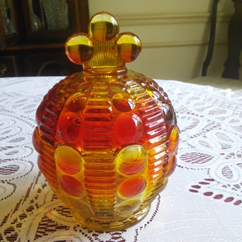 Indiana Glass Tiara Dewdrop Amberina Candy Dish - Glassware