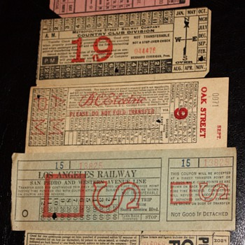 Streetcar Tickets from around 1915 - Honolulu, Los Angeles, Chicago, Hong Kong, Paris, etc... - Paper
