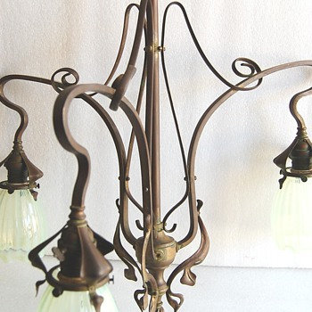 Incredible ARTS & CRAFTS Chandelier with shades  - Art Nouveau