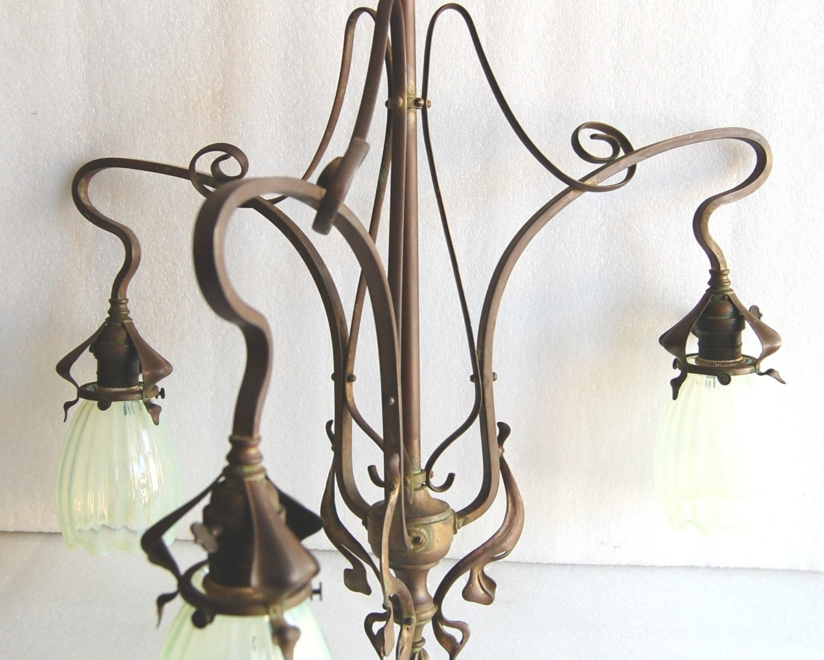Incredible arts crafts chandelier with shades collectors weekly arubaitofo Choice Image