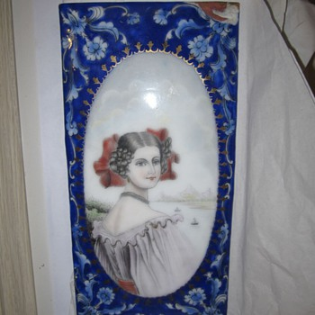 Antique English or India Enamel on Copper Plate Unknown Mystery - Victorian Era