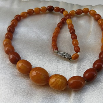 Antique amber bead necklace  - Fine Jewelry