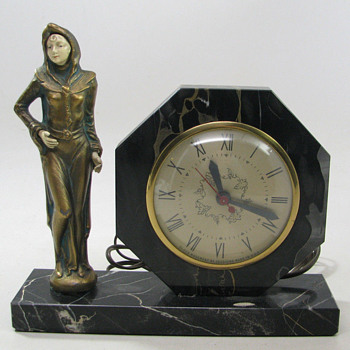 J B Hirsch Standing Deco Lady Clock, 1923