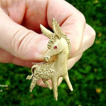 Trifari Donkey Brooch - Animals