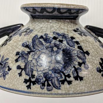Blue white Double Figural Handles Libation Cup Censer Bowl?  - Asian