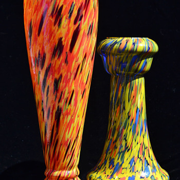 Czechoslovakian spatter vases - Art Glass