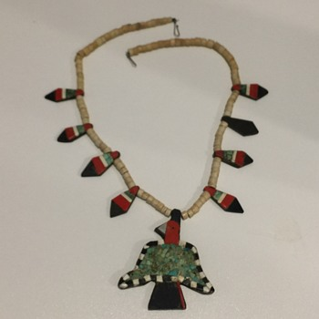 Native American Depression Era Thunderbird Necklace 1940's - Native American