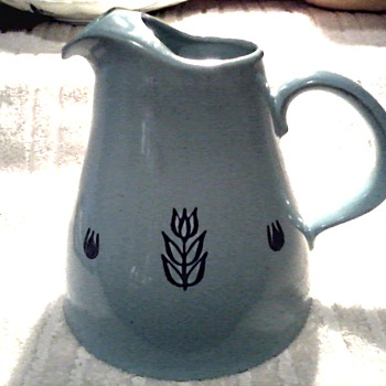 Cronin Pottery Pitcher and Creamer /Cameron Clay Products W.VA./ Blue Tulip Design/ Circa 1950's-60's - Mid-Century Modern