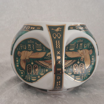 Egyptian Tea Cup w/ Hieroglyphics - Fine Royal Porcelain Sculpture  - China and Dinnerware