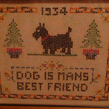 """Dog Is Man's Best Friend"" 1934 Cross Stitch Framed"