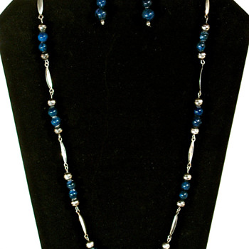 LAPIS LAZULI & SILVER BEAD NECKLACE & EARRING SET - Fine Jewelry