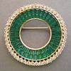 Trifari Invisibly Set Green Glass Circle Brooch Pin
