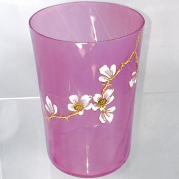 Rare Early Loetz Cherry Blossom Enamelled Pink Heliotrope Tumbler Cup  - Art Nouveau