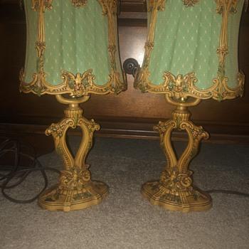 Decorative painted pair - Lamps