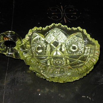 Vaseline Glass Bowl with Handle  EAPG Nucut Circa 1910