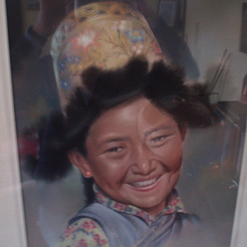 Tibetan Girl by Goray Douglas - Folk Art