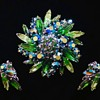 Green-teal starburst Sherman brooch and earring set