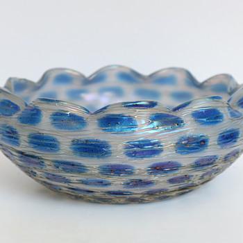 Kralik Iridescent Threaded Bowl with Blue Spots - Art Glass