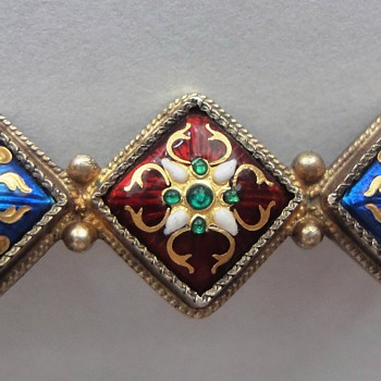 RARE EARLY 19TH C FRENCH BRESSAN ENAMEL VERMEIL BROOCH - Fine Jewelry