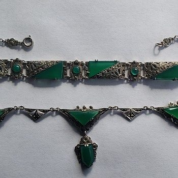 Turn of Century Sterling Silver & Chrysophase Bracelet & Necklace - Art Deco