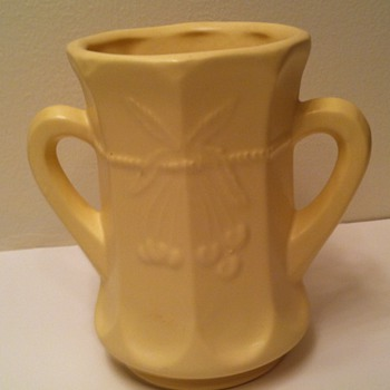 Yellow Matte Cherry and Cable Spooner Cup Vase - Pottery