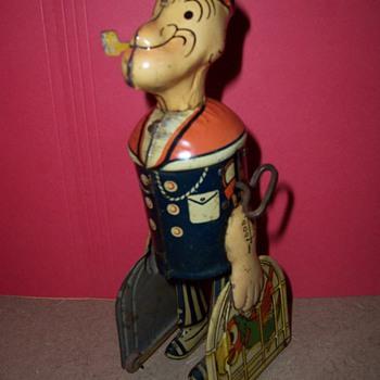 1930's Marx Popeye Tin Birdcage Walker