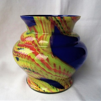 Long awaited for - The Czech glass decor heavy swirls zigzags on cobalt ground vase - Art Glass