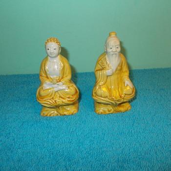Yellow Porcelain Glaze Budda? Figures ID?
