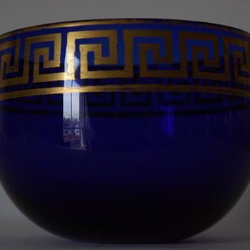 Isaac Jacobs of Bristol, Blue Gilt Finger Bowl - Art Glass
