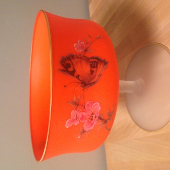 Mystery Neon orange frosted glass footed dish with gold trim - Glassware