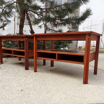 Pair of Teak Side Tables with Pocket Shelves Fredericia  - Mid-Century Modern
