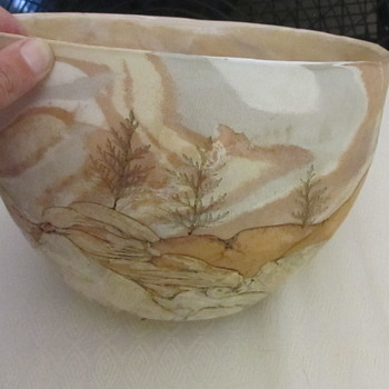 Large art pottery scenery bowl signed  - Pottery