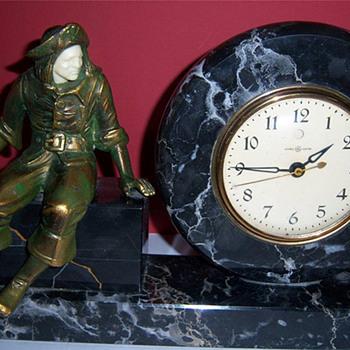 1925 Art Deco J B Hirsch Sitting Pirate Clock