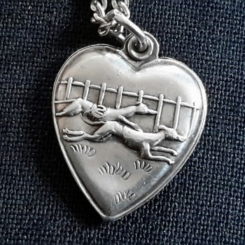 "Tiny Sterling Silver ""Racing Greyhounds"" Heart Pendant/Charm - Fine Jewelry"