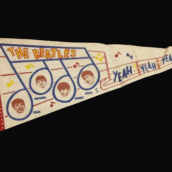 Beatles Faces within Musical Notes 1960's Pennant - Music Memorabilia