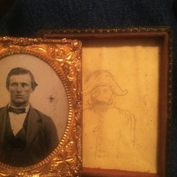 Tintype on clear glass with drawing hidden underneath