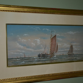 Old Watercolor of Boats - Can't read the signature