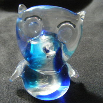 MURANO BLUE OWL 3.14 INCHES - Art Glass