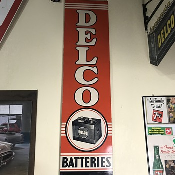 Two 1950's  Delco batteries signs  - Petroliana