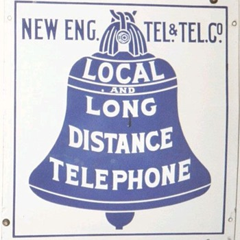 New Eng. Tel. & Tel. Co. Local and Long Distance Telephone Porcelain Sign - Signs