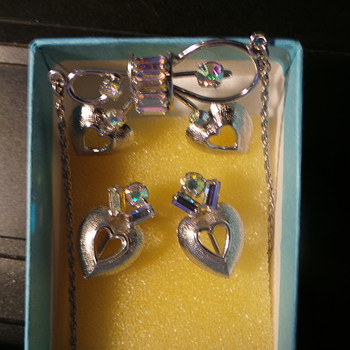Heart, Bow Crystal Sterling Silver Earrings and Necklace