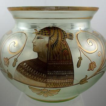 Fritz Heckert, Petersdorf - Egyptian revival enameled glass bowl, ca. 1895 - Art Glass