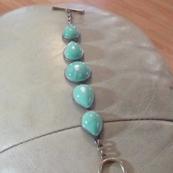 "Lucky Brand turquoise nd bronze tone 7"" bracelet - Costume Jewelry"