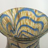 "Kralik Blue & Gold Wave Iridescent Vase 8.5"" Replacement :)"
