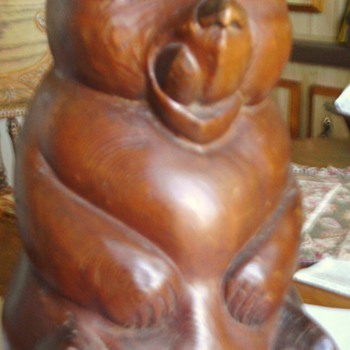 Wood Carved bear 12 inches tall by Violet Sigevist?