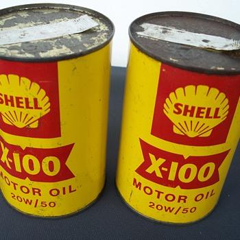 Vintage Shell oil tins - Petroliana