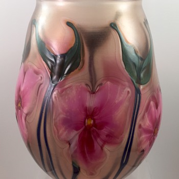 Charles Lotton Pink Verre de Soie Multi Flora vase, 1981 - Art Glass