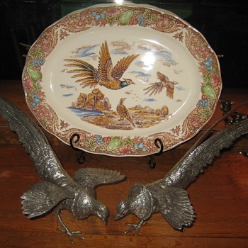 Vintage Silver Plated Pheasants and Pheasant Platter