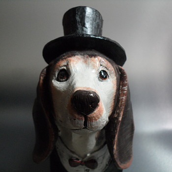 Resin Cast Dog with Top Hat and Jacket - Figurines