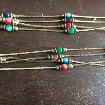 Layered Gold Necklace with Beads - Costume Jewelry